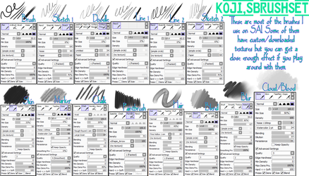Koji's SAI Brush Settings by k-o-j-i
