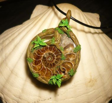 Spiral Songs of Life and Death - Pendant by Ganjamira