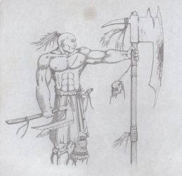 Barbarian with axes by MagoRojo