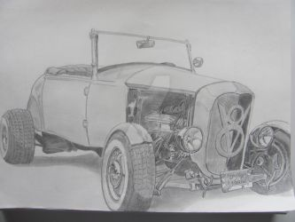 1932 Ford Roadster Hot Rod - Pencil drawing by Gonzo88