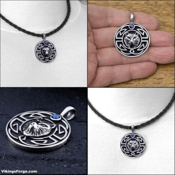 Tribal Wolf Pendant on Viking Braid Leather Cord by GoodSpiritWolf