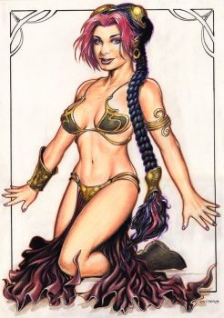 Roxy in Slave Leia costume by Reverie-drawingly