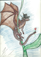 Fairy Dragon With A Top Hat For missingmom by SnowyKatLovesArt