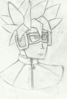 X2 Time patroller portrait original pencil by ArcherXVI