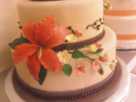 Fall Wedding Cake (lily close-up) by recycledrapunzel
