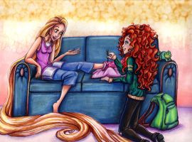 Commission-Rapunzel and Merida in High School by KaeMcSpadden