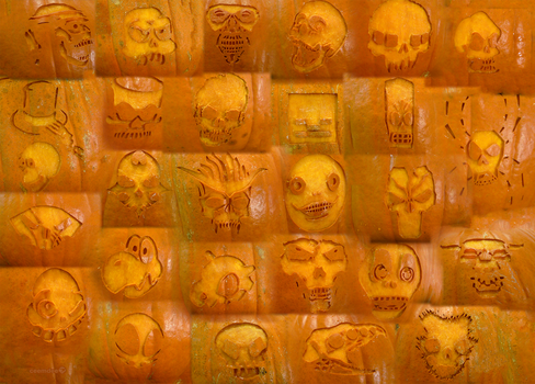 Skulls Pumpkin Detail by ceemdee