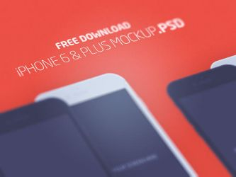 iPhone 6  Plus flat mockups by freebiespsd