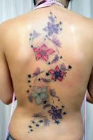 Flowers Butterflies Full Color by 2Face-Tattoo
