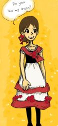 Red and black and white dress by sweet-suzume