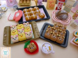 Miniature Rilakkuma sharing bread by LittlestSweetShop