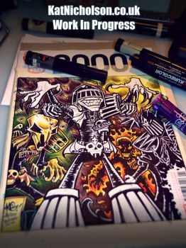 2000 AD Sketch Cover - Dark Judges - WIP by KatCardy