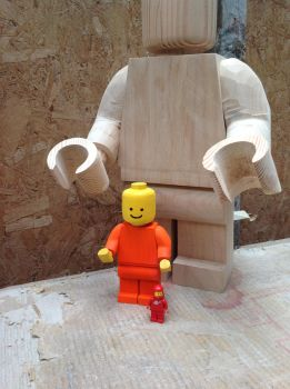 Wooden lego man painted by Ragskin