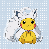 Pokemon - Alolan Vulpix Pikachu by chocomiru02