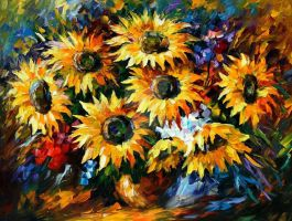 Sunflowers by Leonid Afremov by Leonidafremov