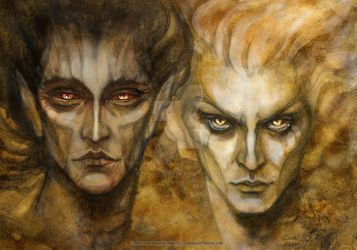 Melkor and Sauron by BohemianWeasel