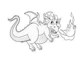 The Chubby lil' Dragon Lineart by EmilyCammisa
