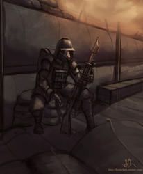 Death Korps in the trenches by kookri
