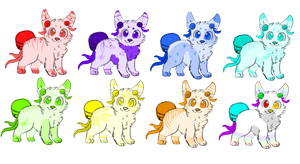 Rainbow Bell Tail Adopts by dovepaw3000