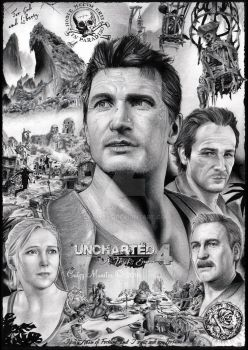 Uncharted 4 - drawn poster by catmuns