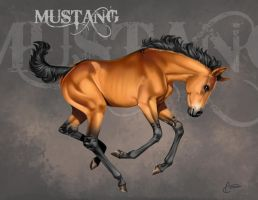 Mustang foal - final artwork by AonikaArt