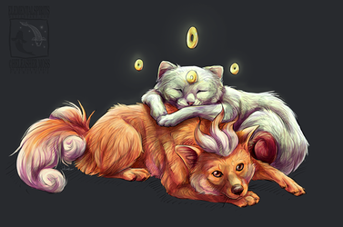 Trifox and Meowsy by ElementalSpirits
