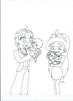 King Rai and Queen Isa with babies (uncolored) by XSreiki772