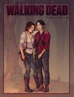 The Walking Dead, Glenn and Maggie by dlazaru
