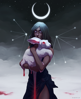 Sky woman with rabbit by Zond-ER