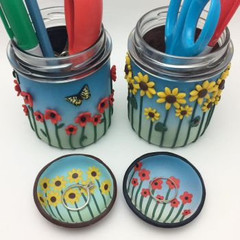 Floral Pencil Holders and Ring Dishes by noellewis