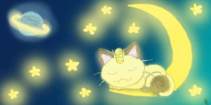 Sleeping Meowth by Barbarian--Warrior
