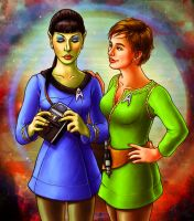 Ms. Spock and Kirkette by dazlious-pheasant