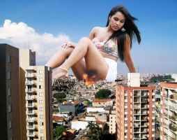 Yasmin among wrecked buildings - Sao Paulo by The-WonderSlug