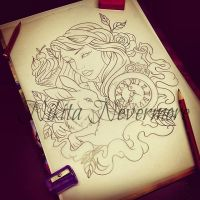 Alice in Wonderland tattoo sketch by Nevermore-Ink