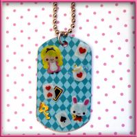 Alice and White Rabbit Dog Tag by wickedland