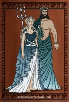 GodsOfAncientGreeceCouples:Poseidon and Amphitrite by wolfanita