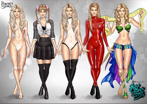 Britney Spears Paper Dolls by KenjiArts