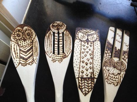 Wooden Spoon Wood Burning- OWLS by ChastityRose