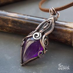 Amethyst wire wrapped copper necklace by Artarina