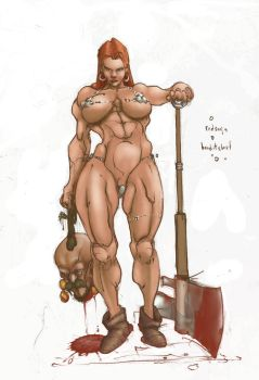 Red Sonja and Bandit Chief by Selkirk (COLORS) by carol-colors