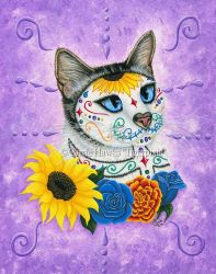 Day of the Dead Cat Sunflowers by tigerpixieart