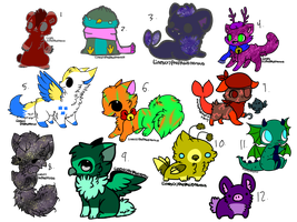 OTA CREATURES-(6/12)-OPEN by ButtonsTheCat-Adopts