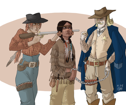 Sceriff, indian and cow girl by ToscaSam