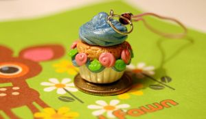 Polymer Clay Cupcake Charm by FatCatCharms