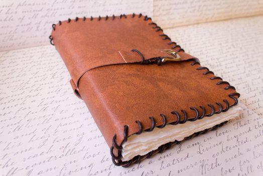 Leather Blank Book - Handmade by GoldCoinComics
