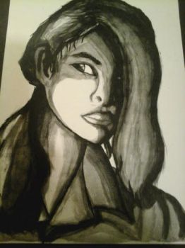 3 quarter Ink Wash Portrait - Portfolio by Itz-Me-Again