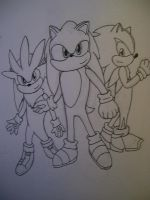 Sonic, Silver, And Shadow by MewXGirl