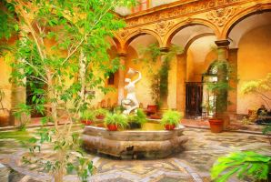 Courtyard With a Fountain by oldhippieart