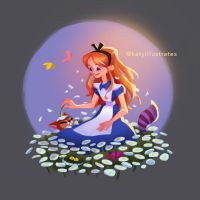 Day 40 - Alice in Daisy Field by katyillustrates