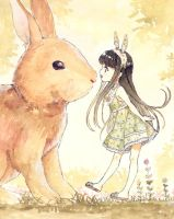 Rabbit meet Girl by loli-drop